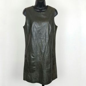 Vince Size 10 Green Leather Shift Dress
